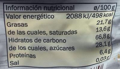 Tortitas de maíz con chocolate - Informació nutricional - es