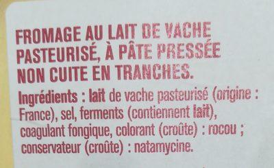 Raclette en tranchettes - Ingrédients - fr