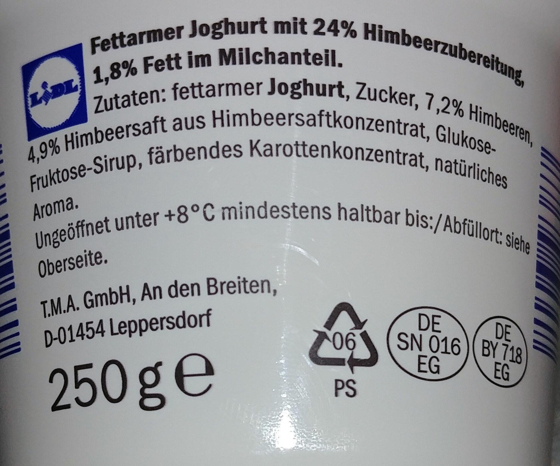 Fettarmer Joghurt mit 24% Himbeerzubereitung - Ingrédients - fr