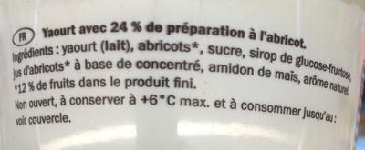 Yaourt abricot - Ingrédients