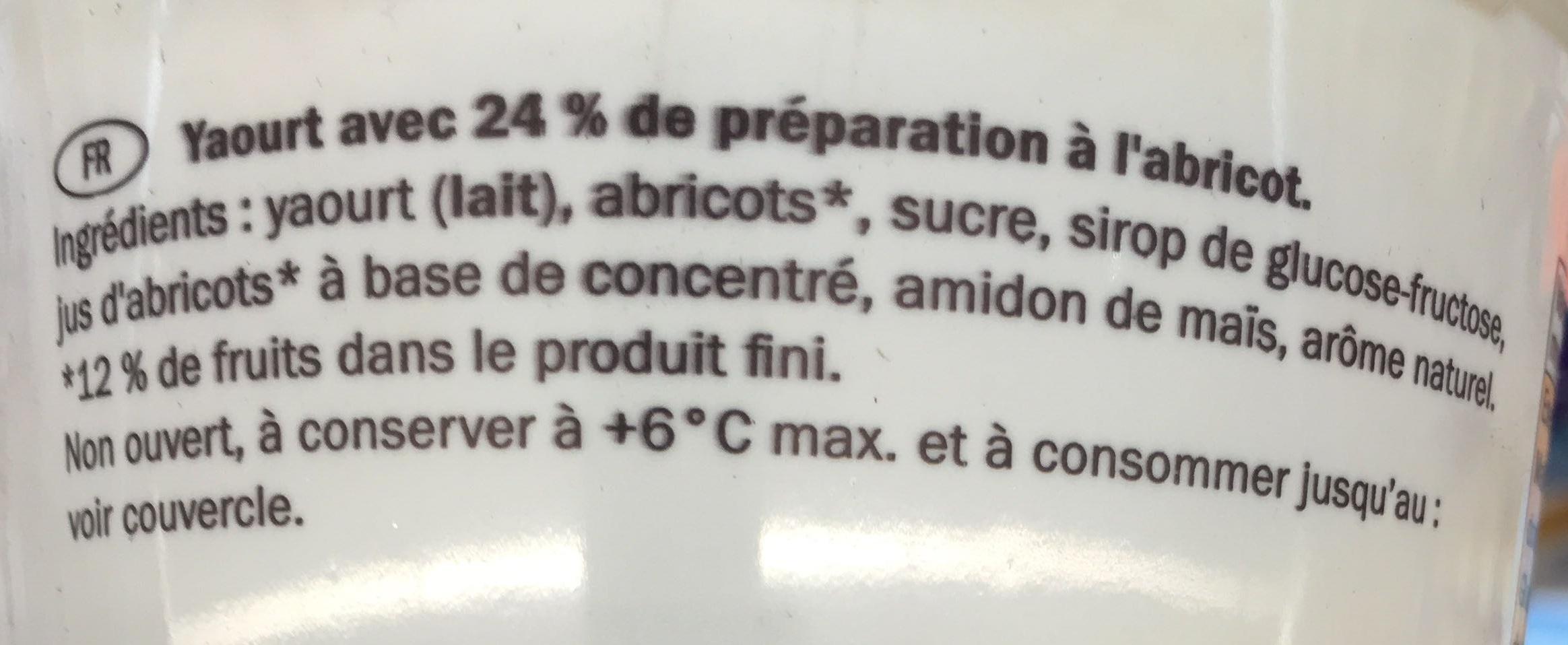 Yaourt abricot - Ingrédients - fr