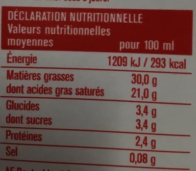 Crème Entière liquide - Nutrition facts