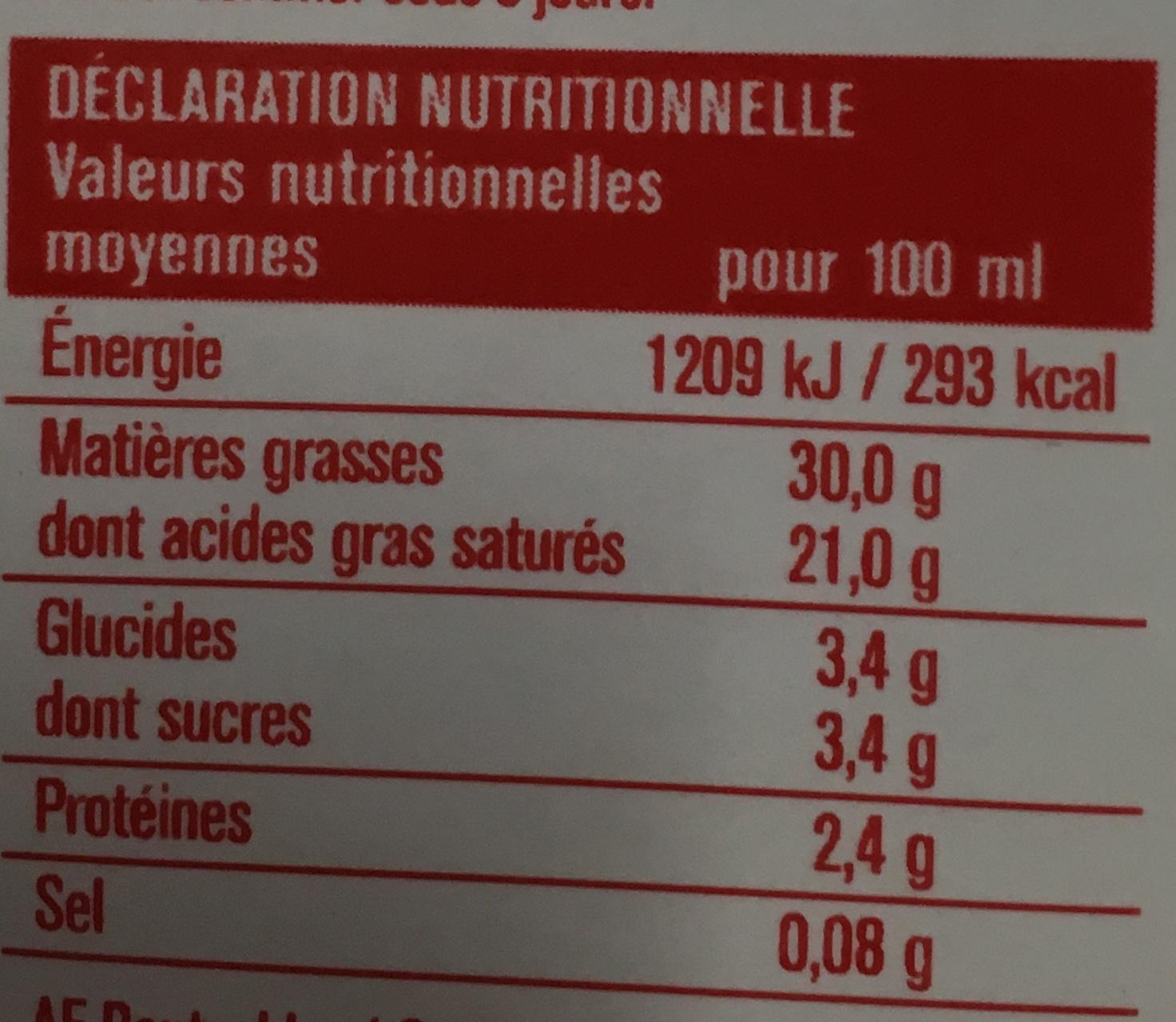 Crème À fouetter - Voedingswaarden - fr