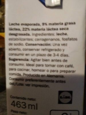 Leche Evaporada - Ingredientes