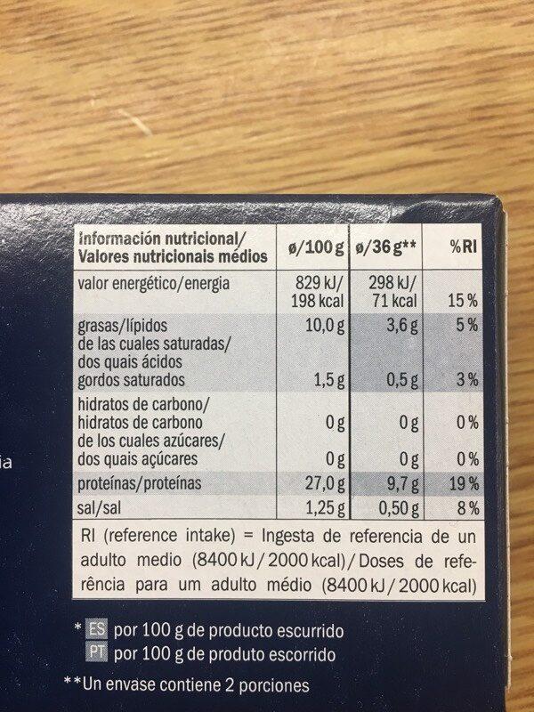 Bonito del norte en aceite de oliva - Informació nutricional - es