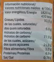 Sondey Tostada - Informação nutricional
