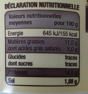 Cancoillotte à l'ail - Informations nutritionnelles - fr