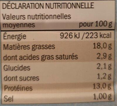 FILETS DE MAQUEREAUX sauce moutarde à l'ancienne - Voedingswaarden - fr