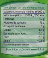 Espirais - Nutrition facts