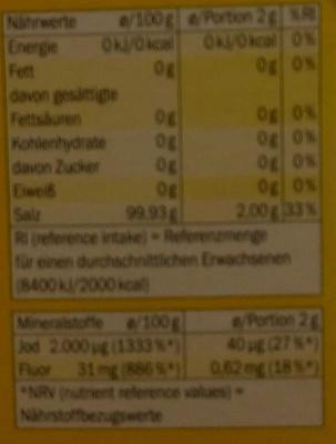 Jodsalz fein - Nutrition facts