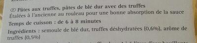 Pâtes aux truffes - Ingrédients