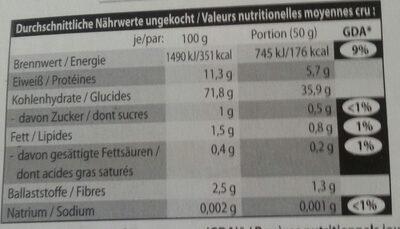 Pâtes aux truffes - Informations nutritionnelles