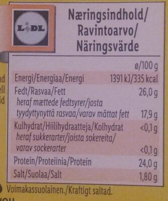 Butterkäse - Ravintosisältö - fi