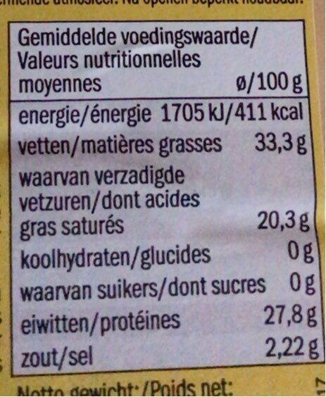 Gouda Holland oud I vieux - Informations nutritionnelles - fr