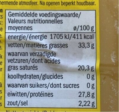 Gouda Holland oud I vieux - Voedingswaarden - fr