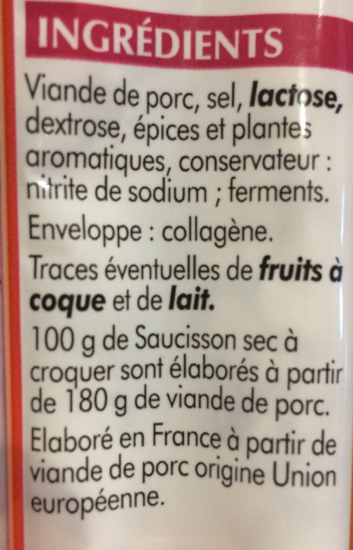 Saucisson Sec à Croquer, 150g - Ingrédients - fr