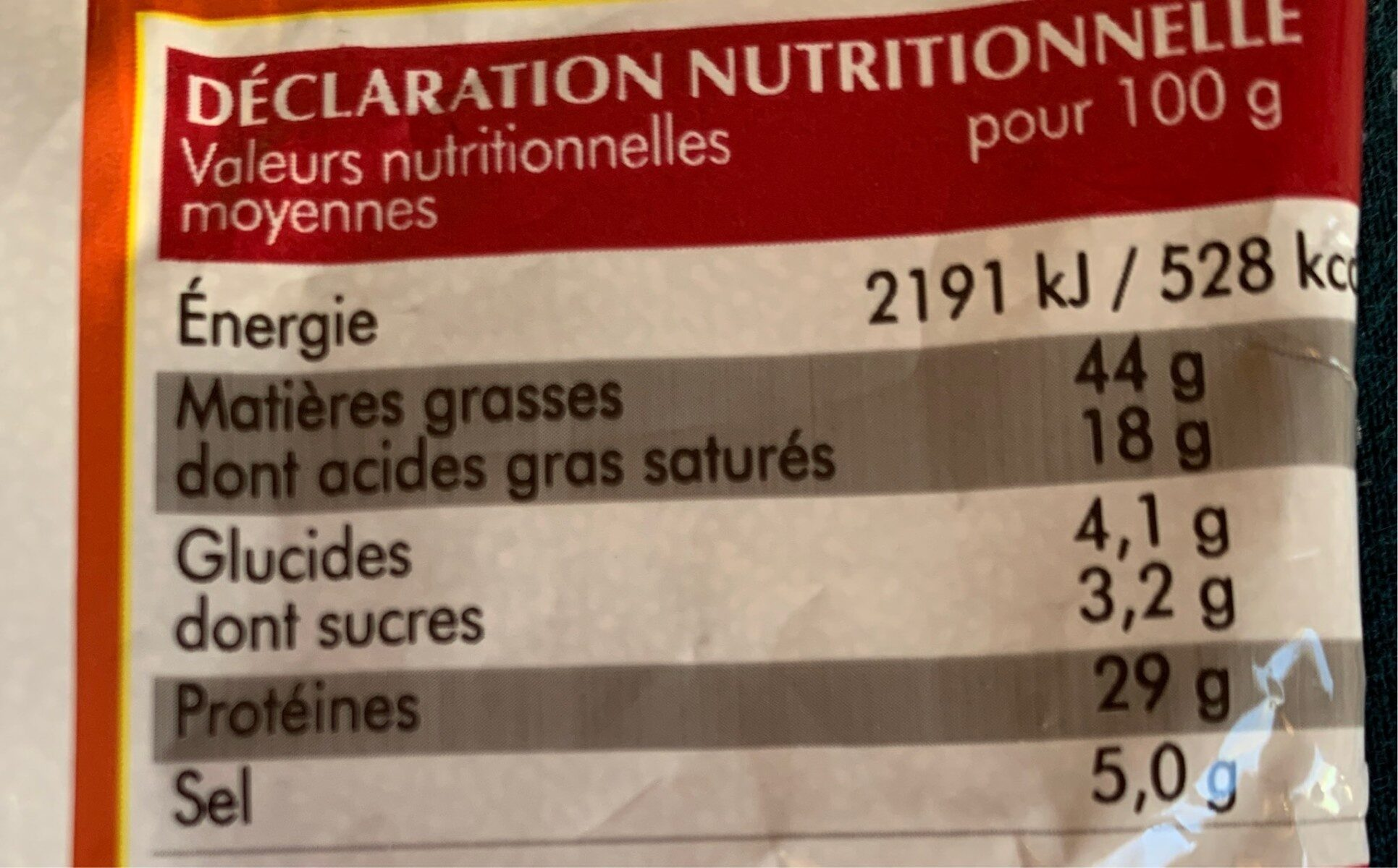 Mini saucissons nature - Informations nutritionnelles - fr