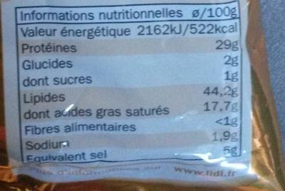 Mini saucissons secs Nature Pur Porc - Nährwertangaben
