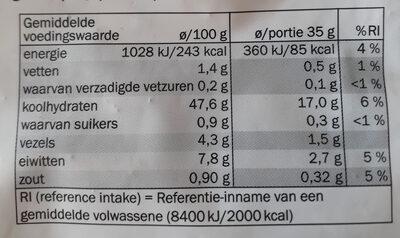 Tijgerbruin - Heel - Nutrition facts - nl
