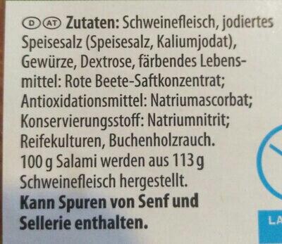 Salami geräuchert - Inhaltsstoffe