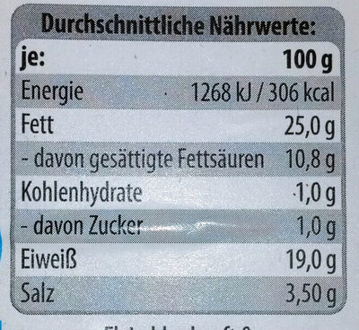 Salami geräuchert - Nährwertangaben