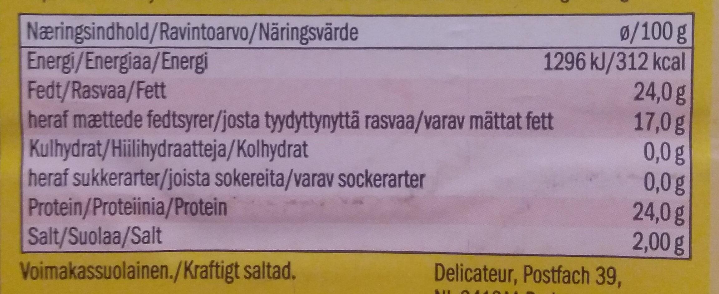 Edamer - Ravintosisältö - fi