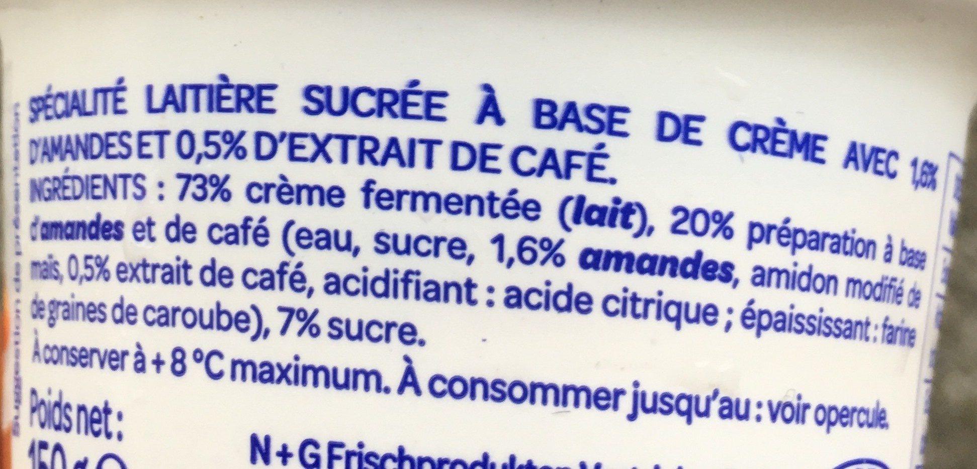 L'onctueux sur lit cafés amandes - Ingrediënten - fr
