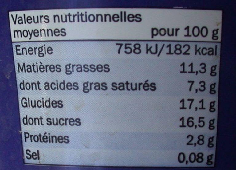 L'onctueux sur lit cafés amandes - Voedingswaarden - fr
