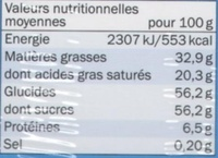 Chocolat Calendrier de l'avent - Nutrition facts