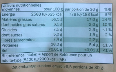 Mélange de fruits secs - Nutrition facts