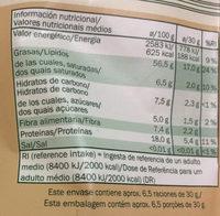 Mélange de fruits secs - Información nutricional