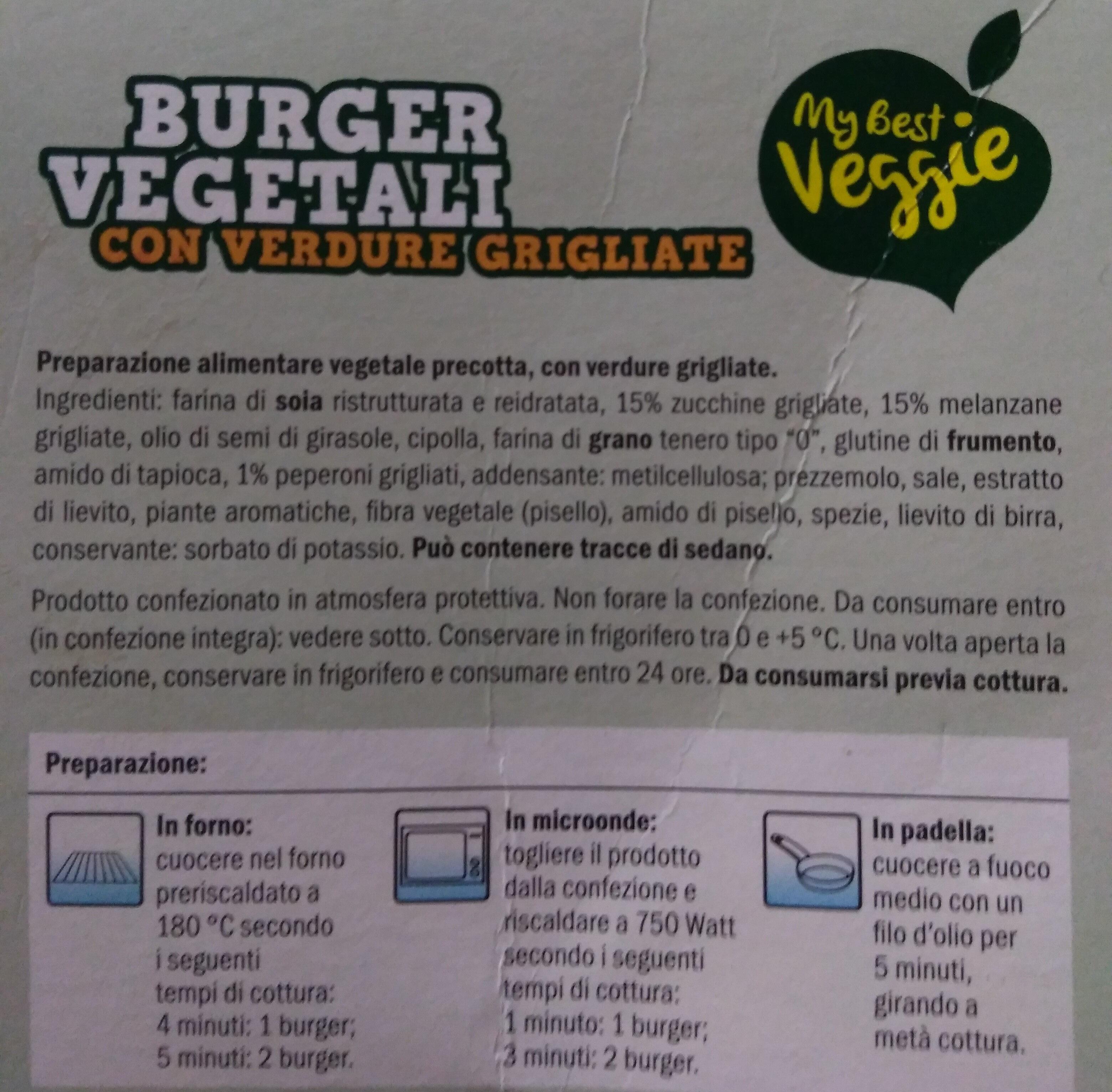 Burger con verdure grigliate - Ingrediënten - it