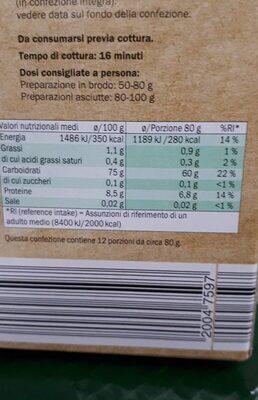 Riso del basso Ferrarese - Información nutricional - it