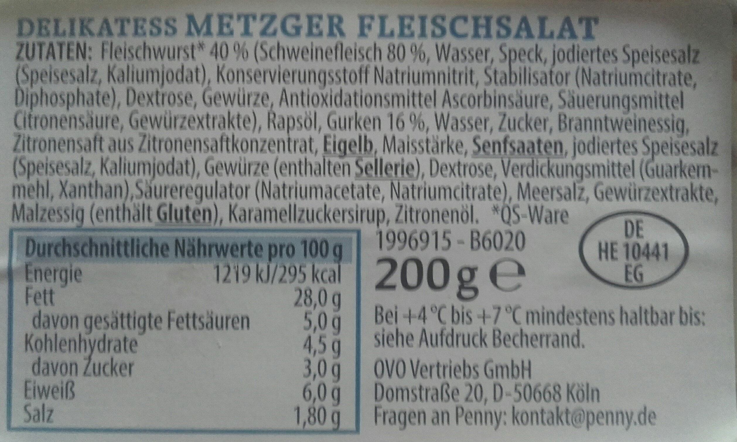 Metzger Fleischsalat - Ingredients