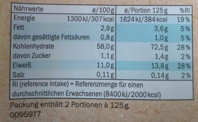 Frische Tagliatelle - Informations nutritionnelles