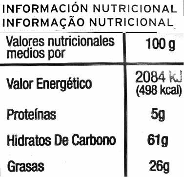 Palmeritas - Información nutricional