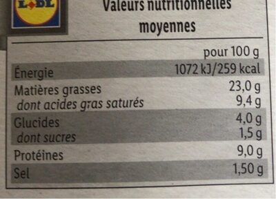 3 boudins blancs - Nutrition facts - fr