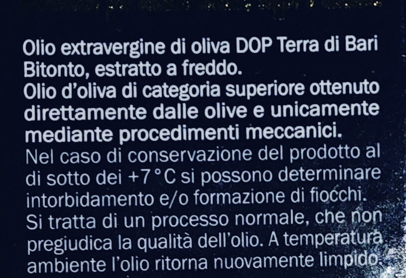 Olio di oliva D.O.P. Terra di Bari - Ingredients - it
