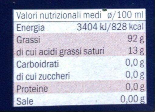 Olio di oliva D.O.P. Terra di Bari - Informazioni nutrizionali - it