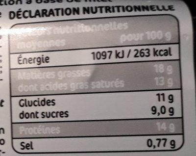 Billes de chèvre cœur de miel - Informations nutritionnelles - fr
