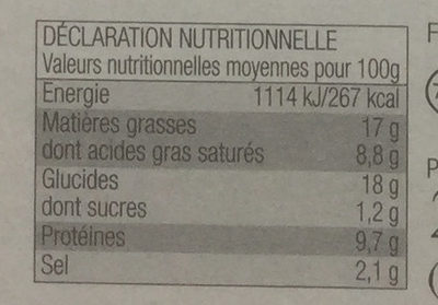Panés 3 Fromages (x 2) - Nutrition facts
