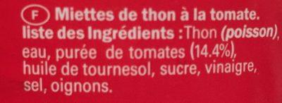 Miettes De Thon à La Tomate, - Ingredients
