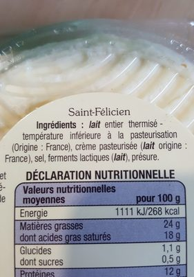 Saint felicien - Ingredients - fr