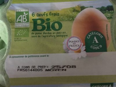 6 oeufs frais Bio - Produit - fr