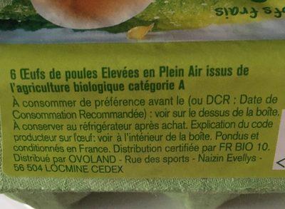 6 oeufs frais Bio - Ingrédients - fr