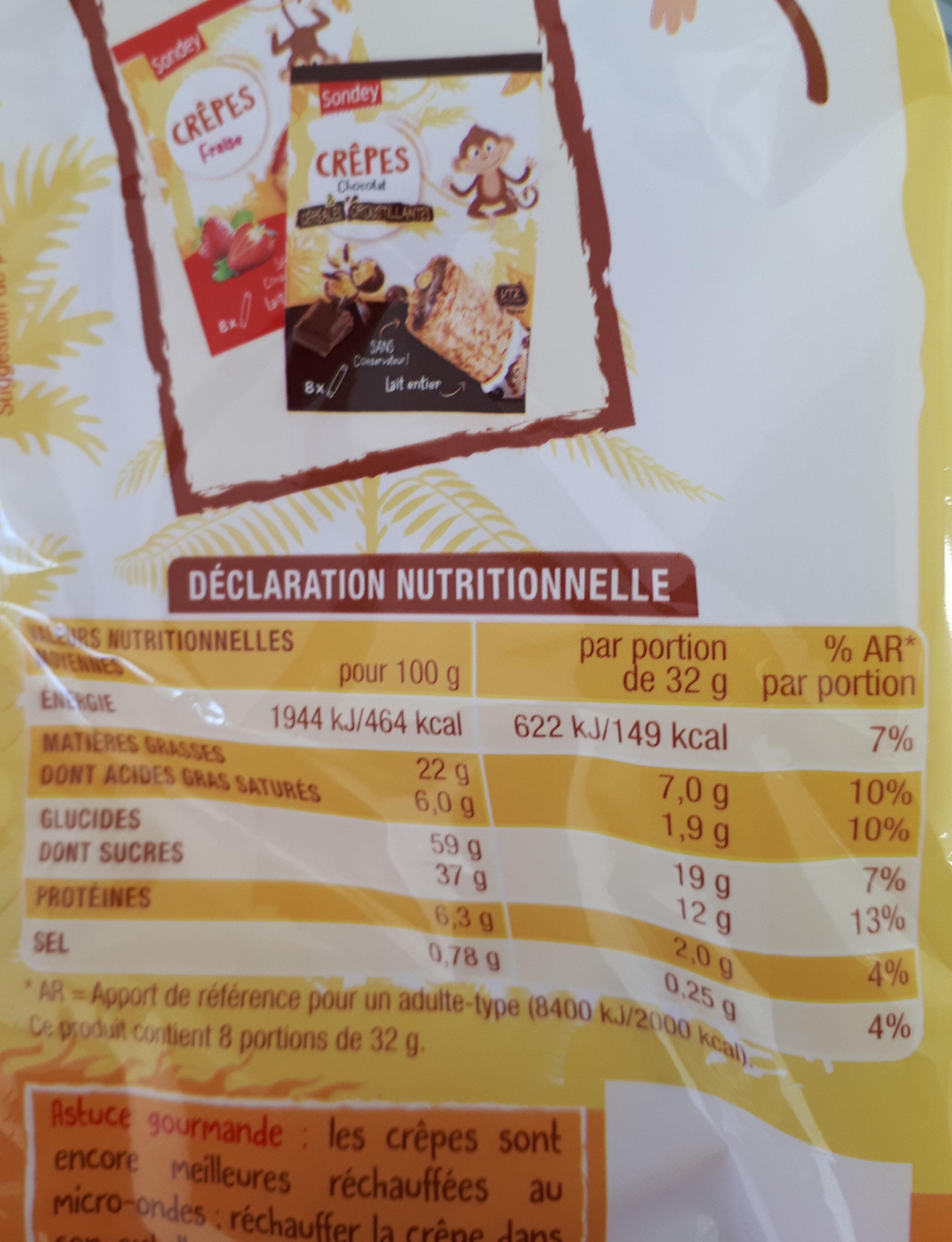Crêpes chocolat - Nutrition facts