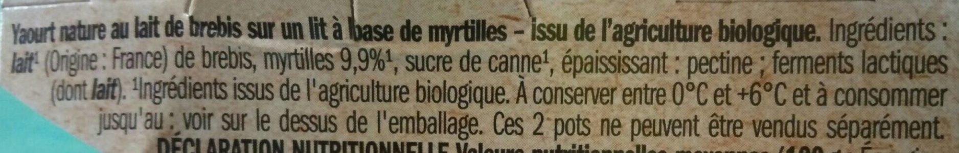 Bio brebis myrtille - Ingrediënten - fr
