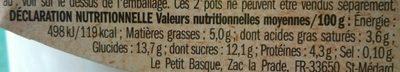 Bio brebis myrtille - Voedingswaarden - fr
