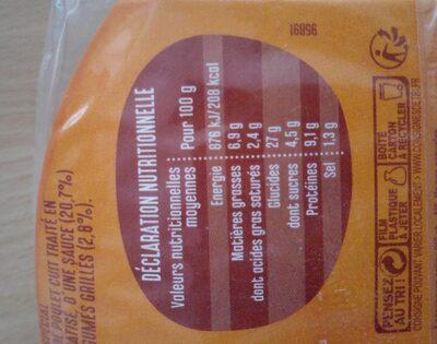 Bagel poulet - Informations nutritionnelles - fr
