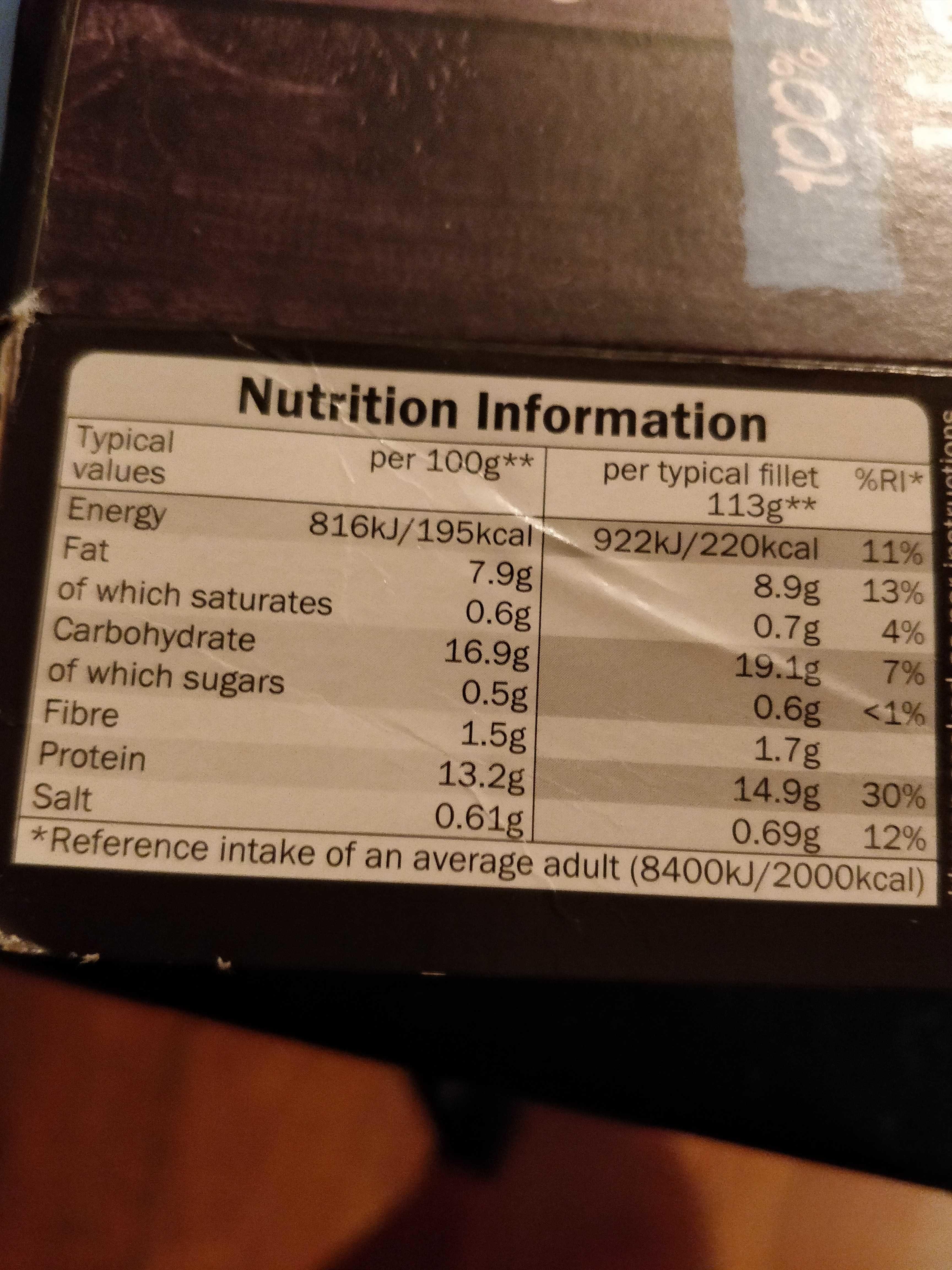 Cod fillets - Informations nutritionnelles - en